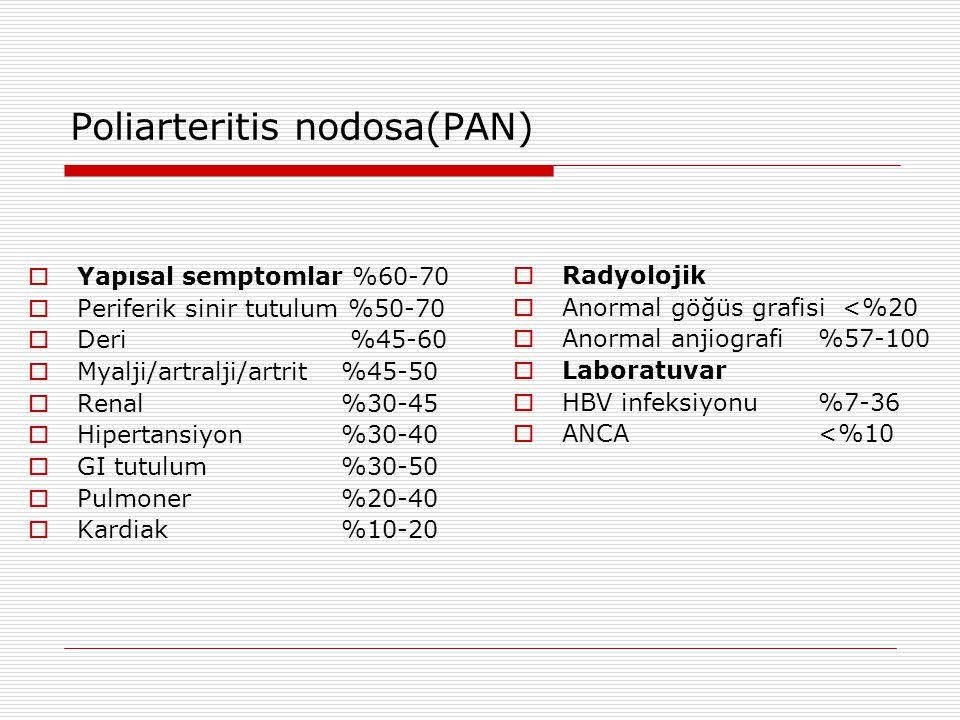Poliarteritis nodosa(PAN)  Yapısal semptomlar %60-70  Periferik sinir tutulum %50-70  Deri %45-60  Myalji/artralji/artrit %45-50  Renal %30-45 