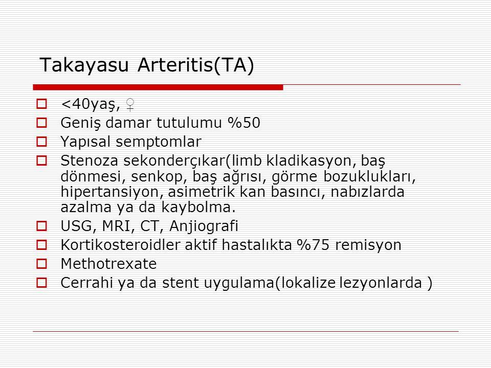 Takayasu Arteritis(TA)  <40yaş, ♀  Geniş damar tutulumu %50  Yapısal semptomlar  Stenoza sekonderçıkar(limb kladikasyon, baş dönmesi, senkop, baş