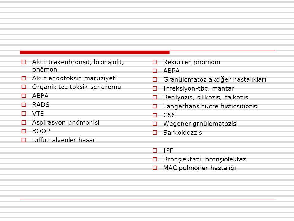  Akut trakeobronşit, bronşiolit, pnömoni  Akut endotoksin maruziyeti  Organik toz toksik sendromu  ABPA  RADS  VTE  Aspirasyon pnömonisi  BOOP