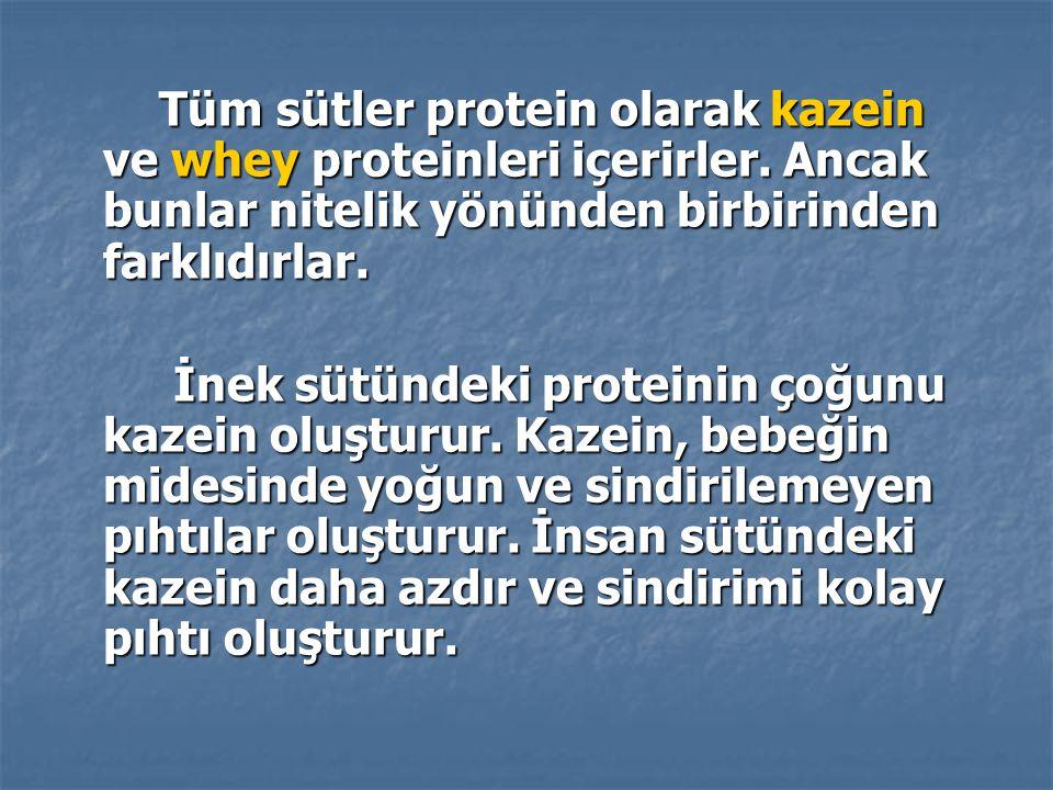 Tüm sütler protein olarak kazein ve whey proteinleri içerirler. Ancak bunlar nitelik yönünden birbirinden farklıdırlar. Tüm sütler protein olarak kaze