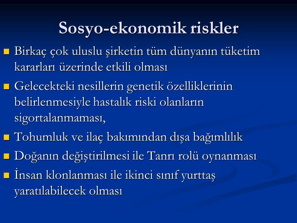 Sosyo-ekonomik riskler Birkaç çok uluslu şirketin tüm dünyanın tüketim kararları üzerinde etkili olması Birkaç çok uluslu şirketin tüm dünyanın tüketi