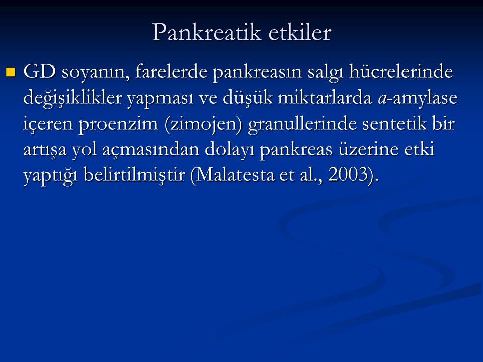 Pankreatik etkiler GD soyanın, farelerde pankreasın salgı hücrelerinde değişiklikler yapması ve düşük miktarlarda α-amylase içeren proenzim (zimojen)
