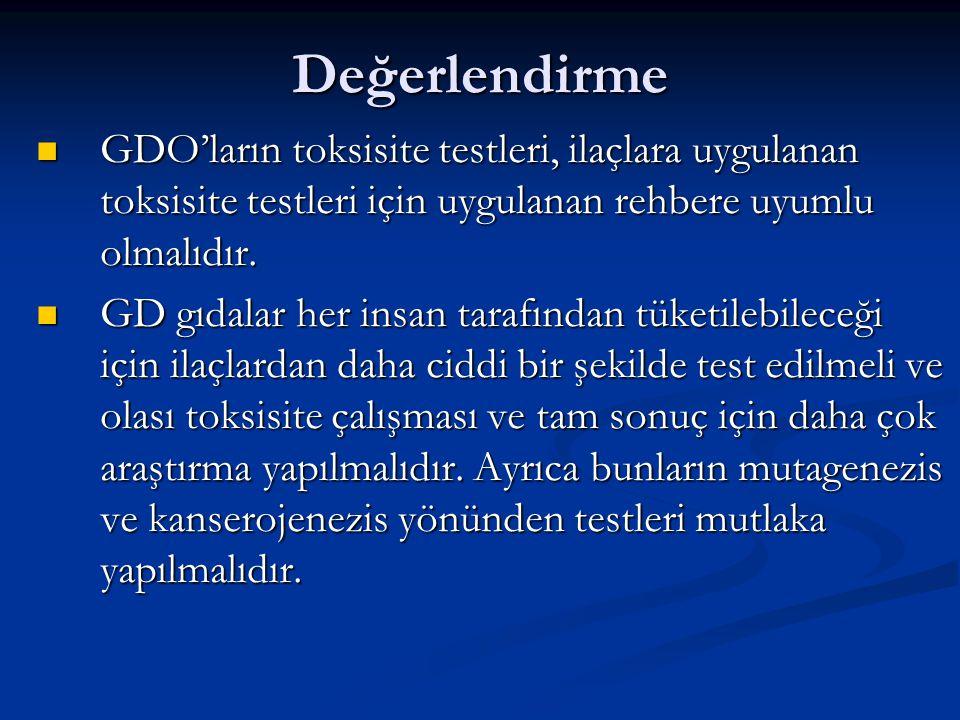 Değerlendirme GDO'ların toksisite testleri, ilaçlara uygulanan toksisite testleri için uygulanan rehbere uyumlu olmalıdır. GDO'ların toksisite testler