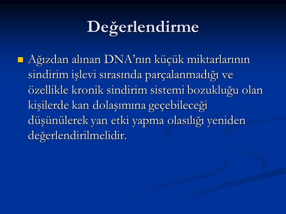 Değerlendirme Ağızdan alınan DNA'nın küçük miktarlarının sindirim işlevi sırasında parçalanmadığı ve özellikle kronik sindirim sistemi bozukluğu olan