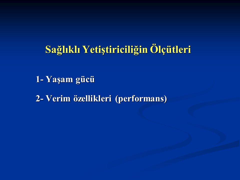 Sağlıklı Yetiştiriciliğin Ölçütleri 1- Yaşam gücü 2- Verim özellikleri (performans)