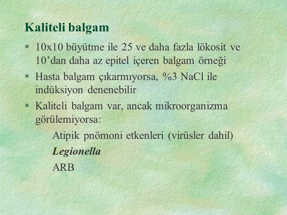 Kaliteli balgam §10x10 büyütme ile 25 ve daha fazla lökosit ve 10'dan daha az epitel içeren balgam örneği §Hasta balgam çıkarmıyorsa, %3 NaCl ile indü