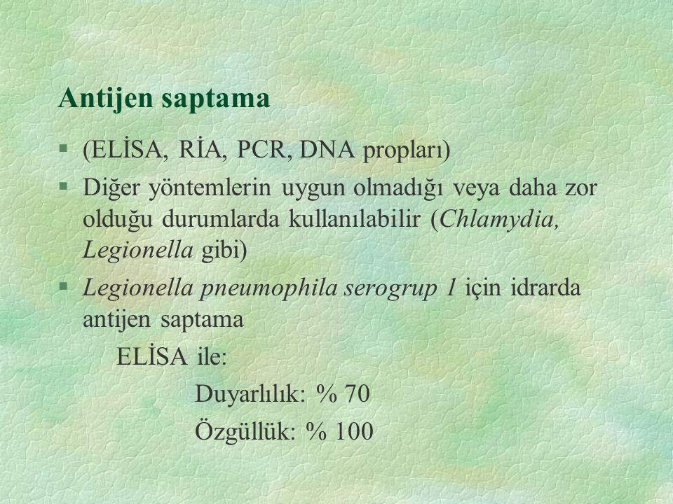 Antijen saptama §(ELİSA, RİA, PCR, DNA propları) §Diğer yöntemlerin uygun olmadığı veya daha zor olduğu durumlarda kullanılabilir (Chlamydia, Legionel