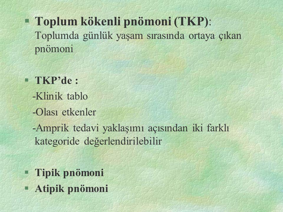 §Toplum kökenli pnömoni (TKP): Toplumda günlük yaşam sırasında ortaya çıkan pnömoni §TKP'de : -Klinik tablo -Olası etkenler -Amprik tedavi yaklaşımı a