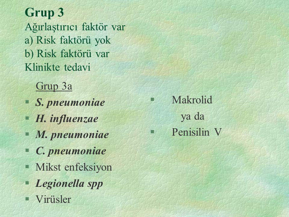 Grup 3 Ağırlaştırıcı faktör var a) Risk faktörü yok b) Risk faktörü var Klinikte tedavi Grup 3a §S. pneumoniae §H. influenzae §M. pneumoniae §C. pneum