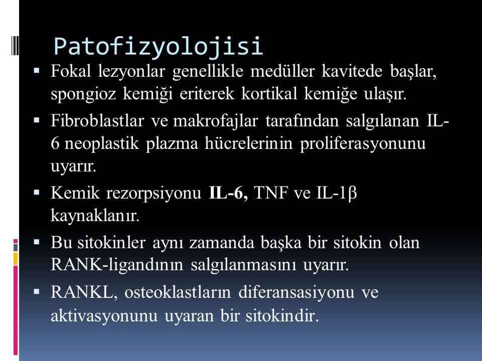 Patofizyolojisi  Fokal lezyonlar genellikle medüller kavitede başlar, spongioz kemiği eriterek kortikal kemiğe ulaşır.  Fibroblastlar ve makrofajlar