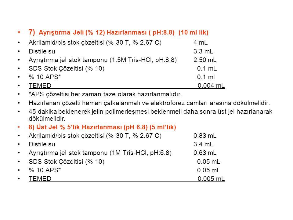 7) Ayrıştırma Jeli (% 12) Hazırlanması ( pH:8.8) (10 ml lik) Akrilamid/bis stok çözeltisi (% 30 T, % 2.67 C)4 mL Distile su 3.3 mL Ayrıştırma jel stok tamponu (1.5M Tris-HCl, pH:8.8)2.50 mL SDS Stok Çözeltisi (% 10) 0.1 mL % 10 APS* 0.1 ml TEMED 0.004 mL *APS çözeltisi her zaman taze olarak hazırlanmalıdır.