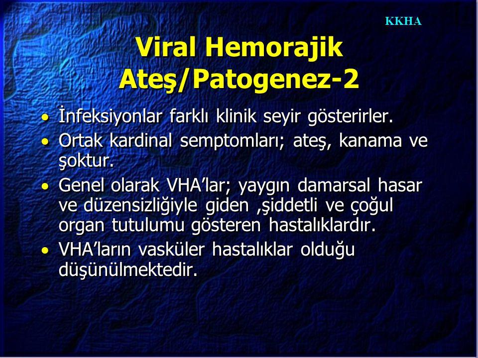KKHA Viral Hemorajik Ateş/Patogenez-2  İnfeksiyonlar farklı klinik seyir gösterirler.  Ortak kardinal semptomları; ateş, kanama ve şoktur.  Genel o