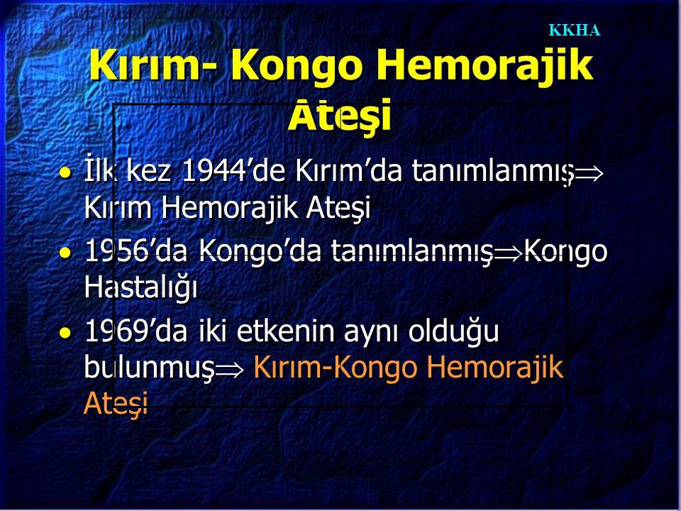 KKHA Kırım- Kongo Hemorajik Ateşi  İlk kez 1944'de Kırım'da tanımlanmış  Kırım Hemorajik Ateşi  1956'da Kongo'da tanımlanmış  Kongo Hastalığı  19