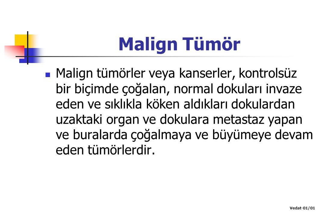 Malign Tümör Malign tümörler veya kanserler, kontrolsüz bir biçimde çoğalan, normal dokuları invaze eden ve sıklıkla köken aldıkları dokulardan uzakta