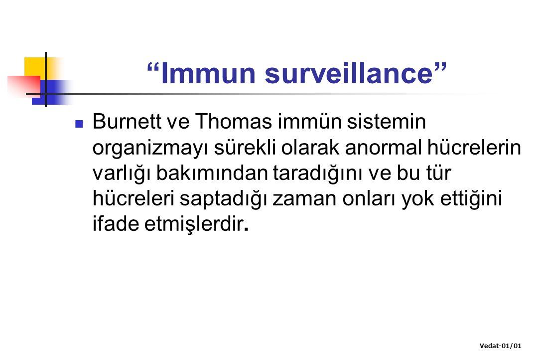 """""""Immun surveillance"""" Burnett ve Thomas immün sistemin organizmayı sürekli olarak anormal hücrelerin varlığı bakımından taradığını ve bu tür hücreleri"""