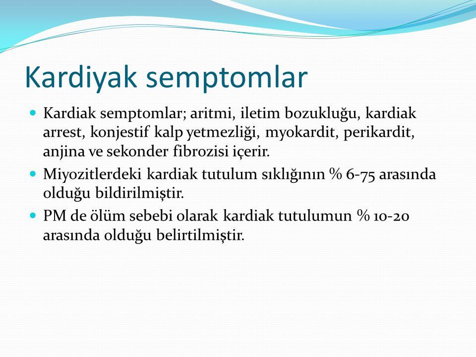 Kardiyak semptomlar Kardiak semptomlar; aritmi, iletim bozukluğu, kardiak arrest, konjestif kalp yetmezliği, myokardit, perikardit, anjina ve sekonder