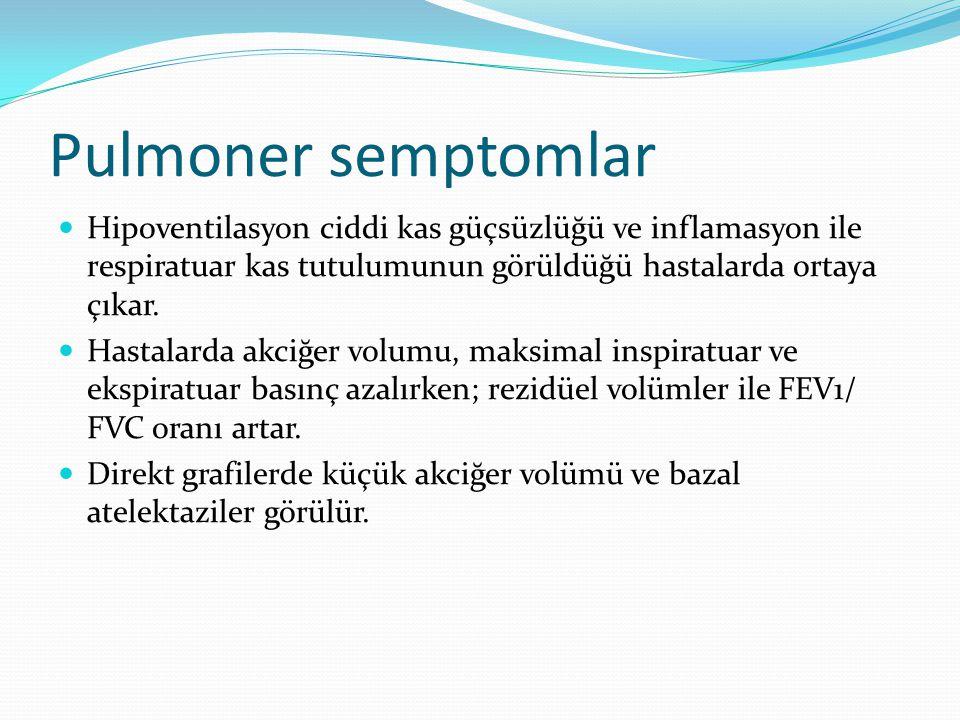 Pulmoner semptomlar Hipoventilasyon ciddi kas güçsüzlüğü ve inflamasyon ile respiratuar kas tutulumunun görüldüğü hastalarda ortaya çıkar. Hastalarda
