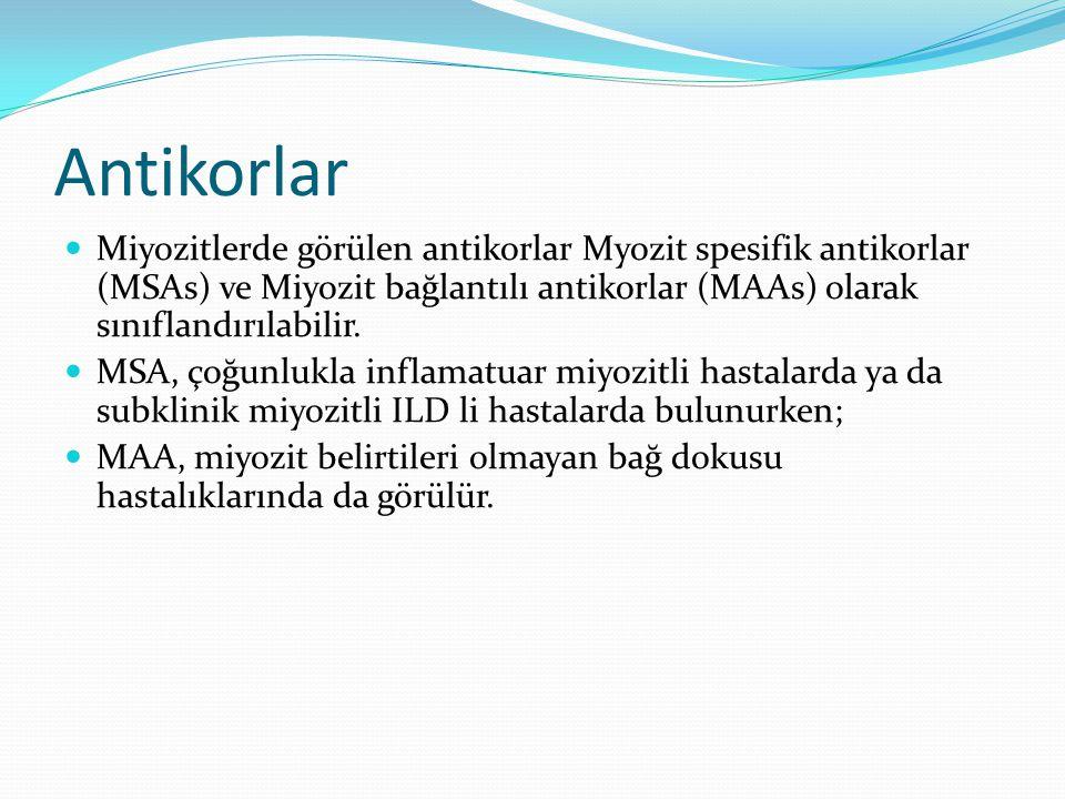 Antikorlar Miyozitlerde görülen antikorlar Myozit spesifik antikorlar (MSAs) ve Miyozit bağlantılı antikorlar (MAAs) olarak sınıflandırılabilir. MSA,