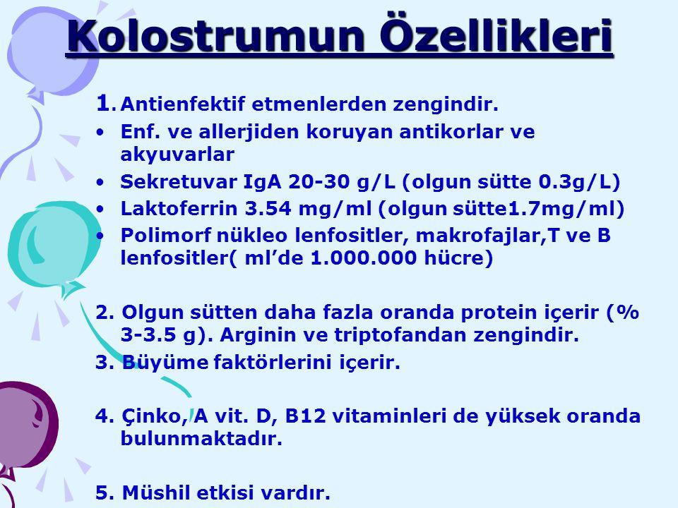 Kolostrumun Özellikleri 1. Antienfektif etmenlerden zengindir. Enf. ve allerjiden koruyan antikorlar ve akyuvarlar Sekretuvar IgA 20-30 g/L (olgun süt