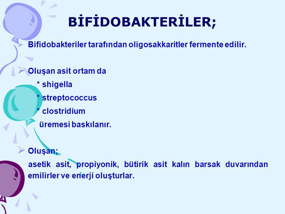 BİFİDOBAKTERİLER;  Bifidobakteriler tarafından oligosakkaritler fermente edilir.  Oluşan asit ortam da * shigella * streptococcus * clostridium ürem