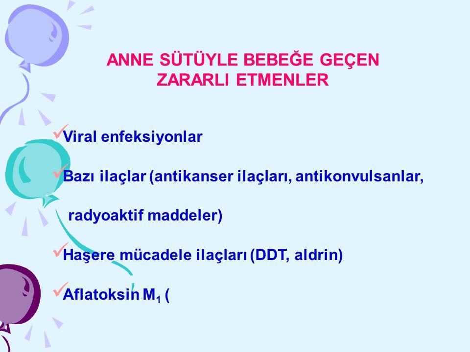 ANNE SÜTÜYLE BEBEĞE GEÇEN ZARARLI ETMENLER Viral enfeksiyonlar Bazı ilaçlar (antikanser ilaçları, antikonvulsanlar, radyoaktif maddeler) Haşere mücade