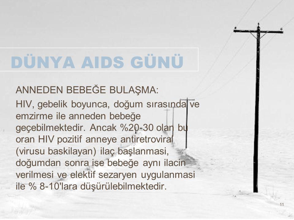 11 DÜNYA AIDS GÜNÜ ANNEDEN BEBEĞE BULAŞMA: HIV, gebelik boyunca, doğum sırasında ve emzirme ile anneden bebeğe geçebilmektedir. Ancak %20-30 olan bu o