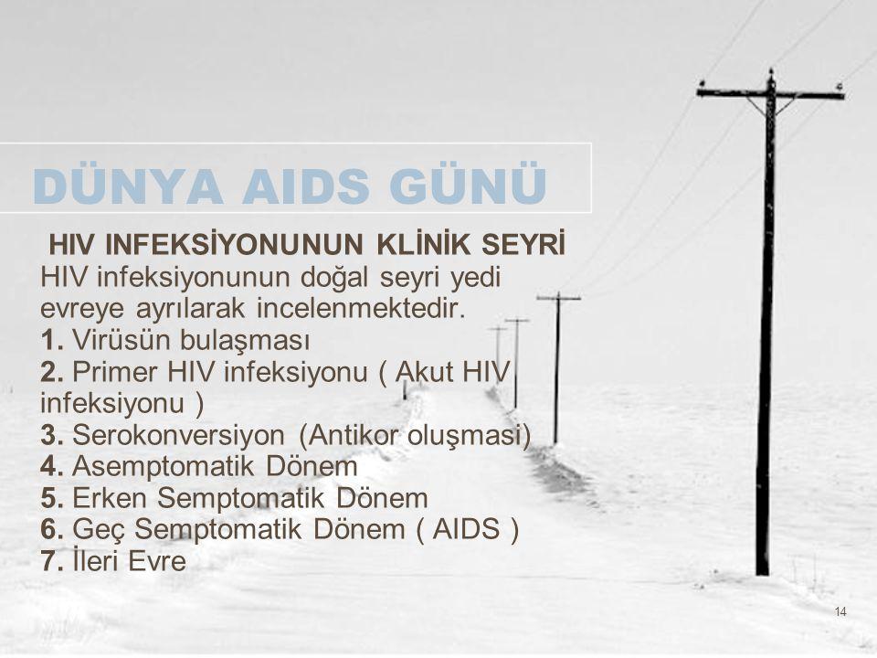 14 DÜNYA AIDS GÜNÜ HIV INFEKSİYONUNUN KLİNİK SEYRİ HIV infeksiyonunun doğal seyri yedi evreye ayrılarak incelenmektedir. 1. Virüsün bulaşması 2. Prime