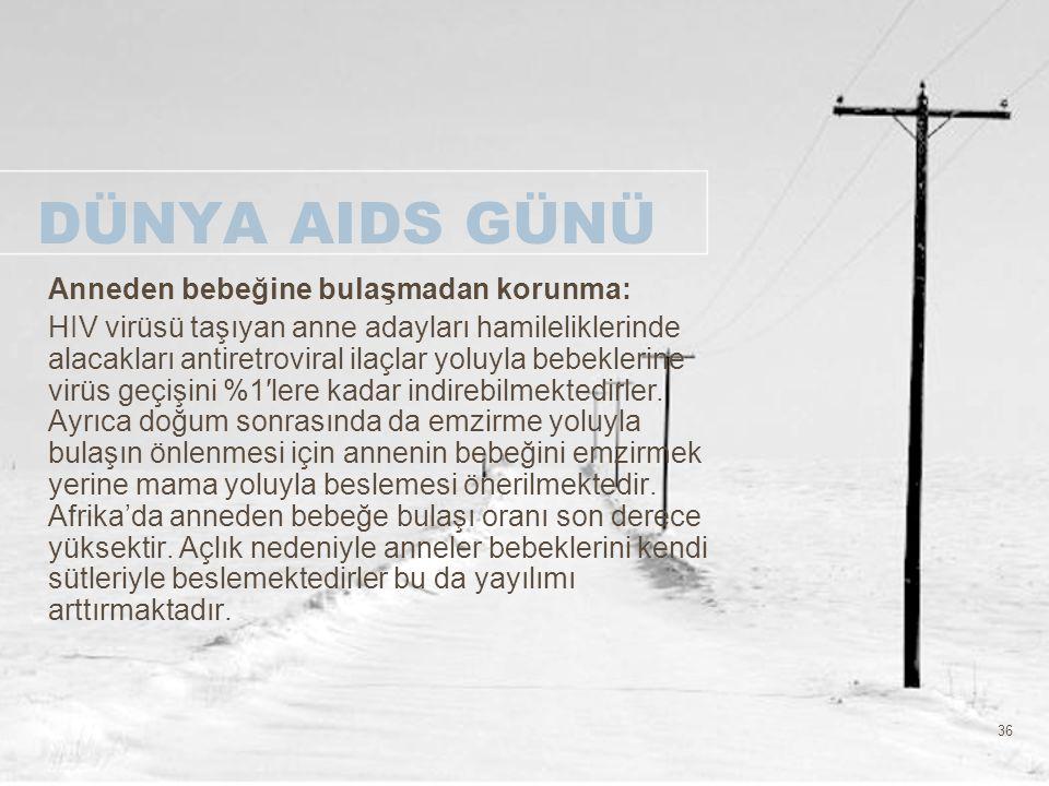 36 DÜNYA AIDS GÜNÜ Anneden bebeğine bulaşmadan korunma: HIV virüsü taşıyan anne adayları hamileliklerinde alacakları antiretroviral ilaçlar yoluyla be