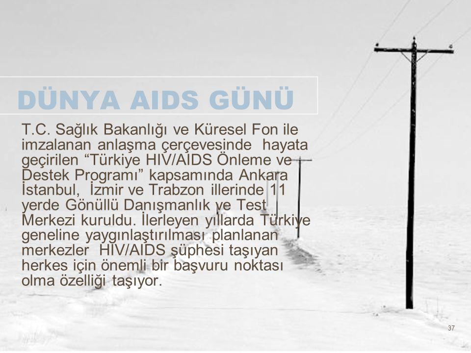 """37 DÜNYA AIDS GÜNÜ T.C. Sağlık Bakanlığı ve Küresel Fon ile imzalanan anlaşma çerçevesinde hayata geçirilen """"Türkiye HIV/AIDS Önleme ve Destek Program"""