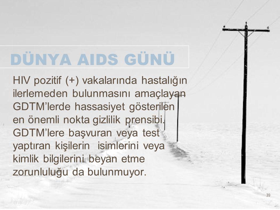 39 DÜNYA AIDS GÜNÜ HIV pozitif (+) vakalarında hastalığın ilerlemeden bulunmasını amaçlayan GDTM'lerde hassasiyet gösterilen en önemli nokta gizlilik