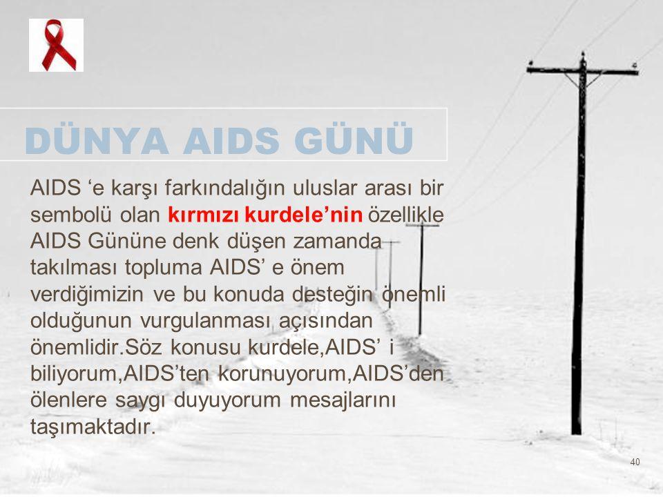 40 DÜNYA AIDS GÜNÜ AIDS 'e karşı farkındalığın uluslar arası bir sembolü olan kırmızı kurdele'nin özellikle AIDS Gününe denk düşen zamanda takılması t