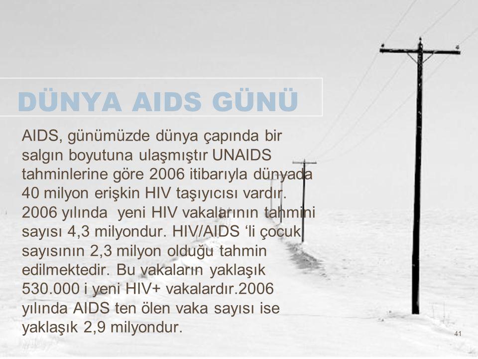 41 DÜNYA AIDS GÜNÜ AIDS, günümüzde dünya çapında bir salgın boyutuna ulaşmıştır UNAIDS tahminlerine göre 2006 itibarıyla dünyada 40 milyon erişkin HIV
