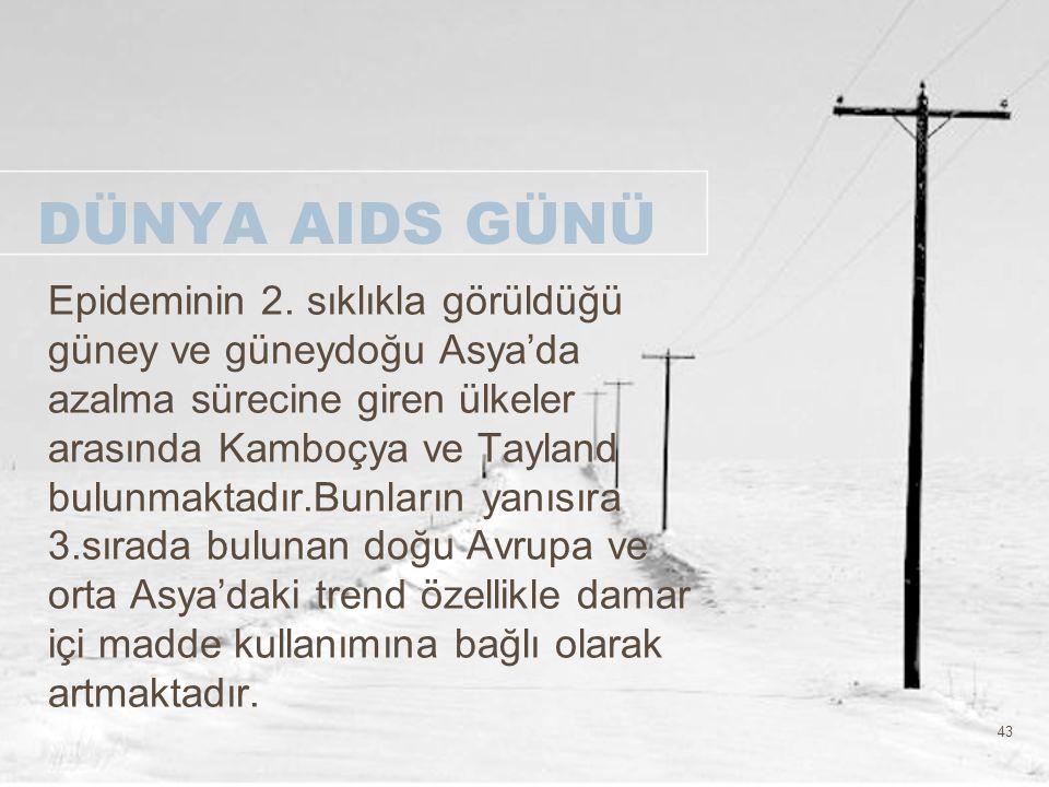 43 DÜNYA AIDS GÜNÜ Epideminin 2. sıklıkla görüldüğü güney ve güneydoğu Asya'da azalma sürecine giren ülkeler arasında Kamboçya ve Tayland bulunmaktadı