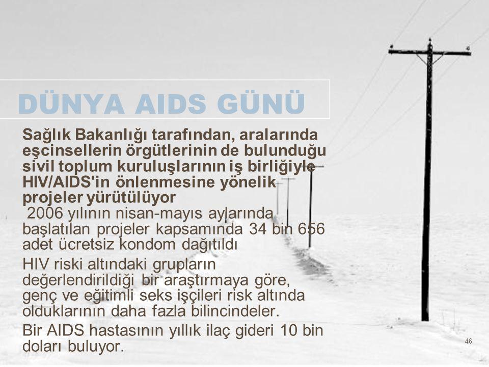 46 DÜNYA AIDS GÜNÜ Sağlık Bakanlığı tarafından, aralarında eşcinsellerin örgütlerinin de bulunduğu sivil toplum kuruluşlarının iş birliğiyle HIV/AIDS'