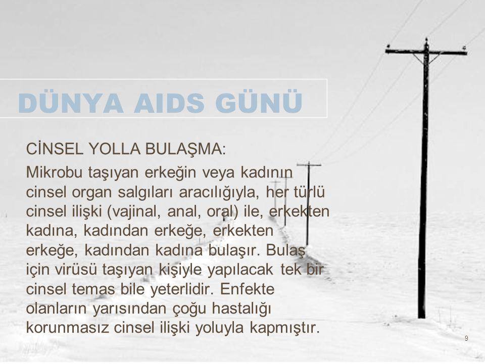 40 DÜNYA AIDS GÜNÜ AIDS 'e karşı farkındalığın uluslar arası bir sembolü olan kırmızı kurdele'nin özellikle AIDS Gününe denk düşen zamanda takılması topluma AIDS' e önem verdiğimizin ve bu konuda desteğin önemli olduğunun vurgulanması açısından önemlidir.Söz konusu kurdele,AIDS' i biliyorum,AIDS'ten korunuyorum,AIDS'den ölenlere saygı duyuyorum mesajlarını taşımaktadır.