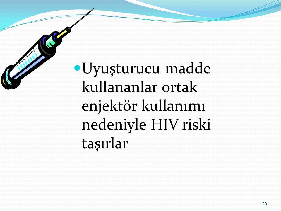 Uyuşturucu madde kullananlar ortak enjektör kullanımı nedeniyle HIV riski taşırlar 20