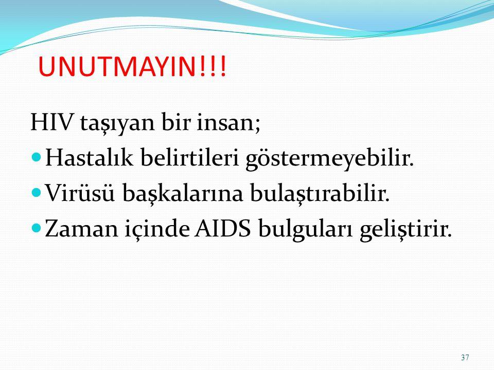 UNUTMAYIN!!! HIV taşıyan bir insan; Hastalık belirtileri göstermeyebilir. Virüsü başkalarına bulaştırabilir. Zaman içinde AIDS bulguları geliştirir. 3