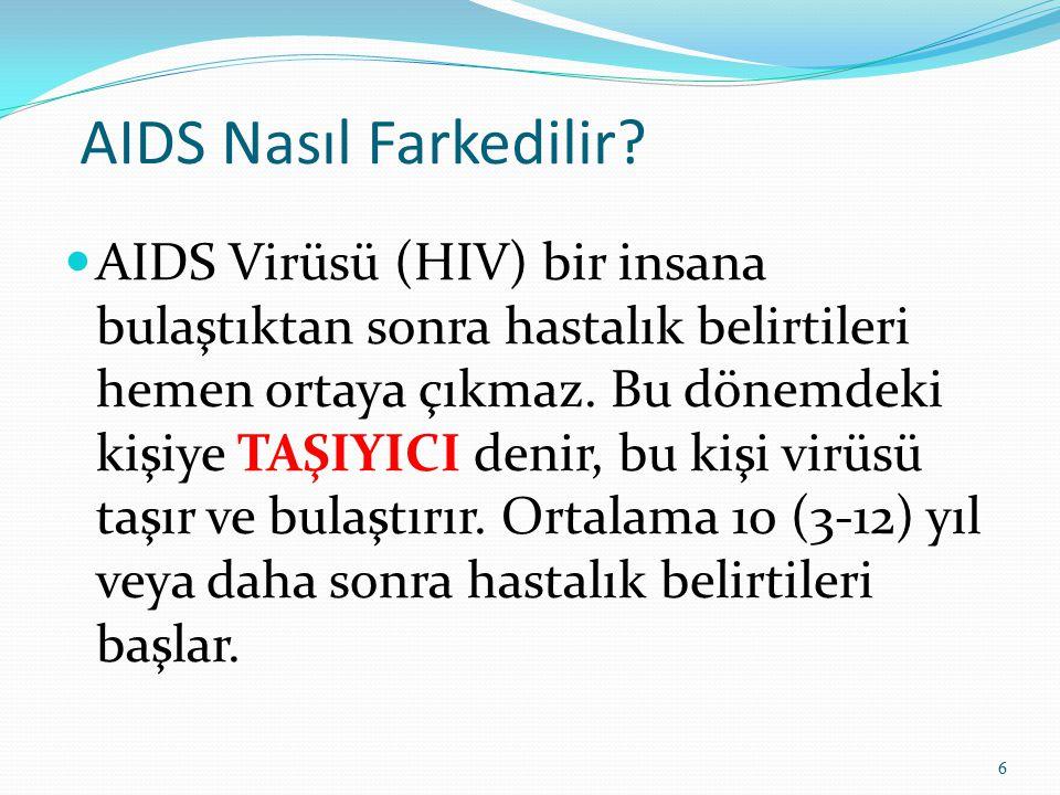 AIDS Nasıl Farkedilir? AIDS Virüsü (HIV) bir insana bulaştıktan sonra hastalık belirtileri hemen ortaya çıkmaz. Bu dönemdeki kişiye TAŞIYICI denir, bu
