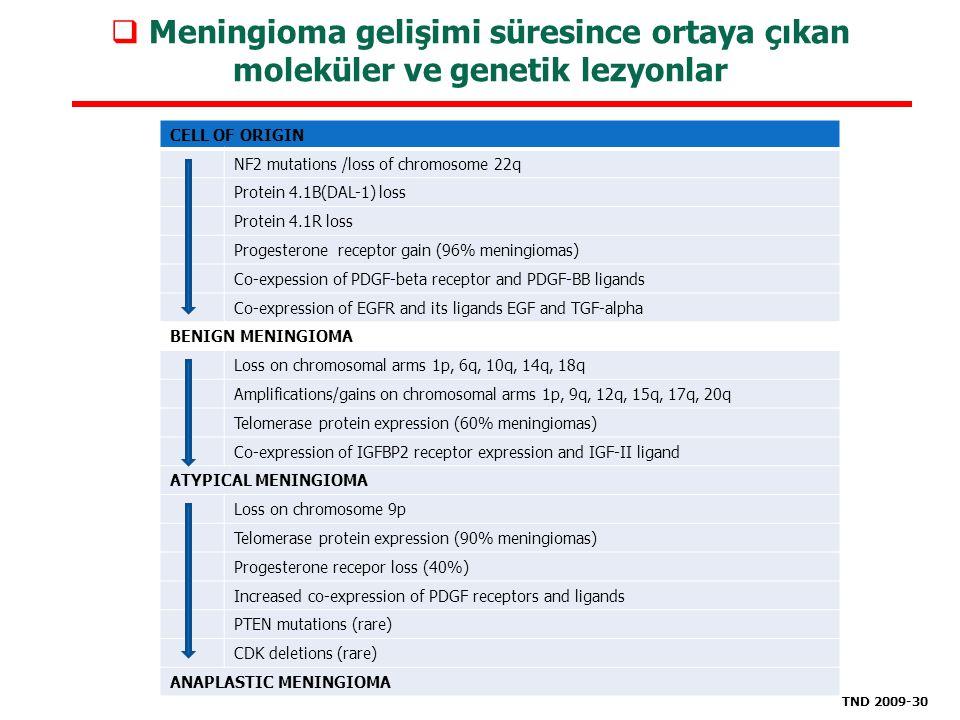 Meningioma gelişimi süresince ortaya çıkan moleküler ve genetik lezyonlar CELL OF ORIGIN NF2 mutations /loss of chromosome 22q Protein 4.1B(DAL-1) l