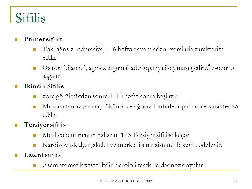 TUD HAZIRLIK KURSU.2009 10 Sifilis Primer sifiliz.