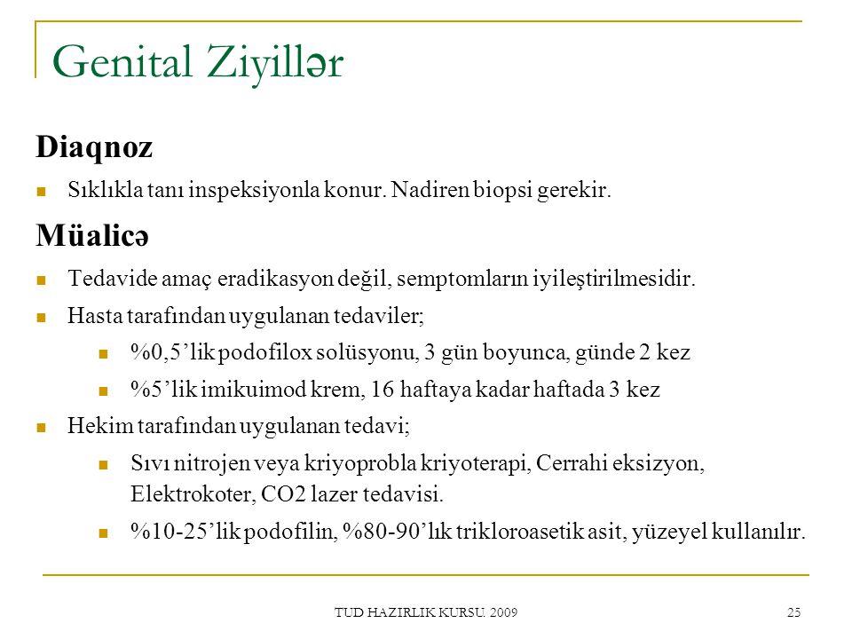 TUD HAZIRLIK KURSU.2009 25 Genital Ziyill ə r Diaqnoz Sıklıkla tanı inspeksiyonla konur.