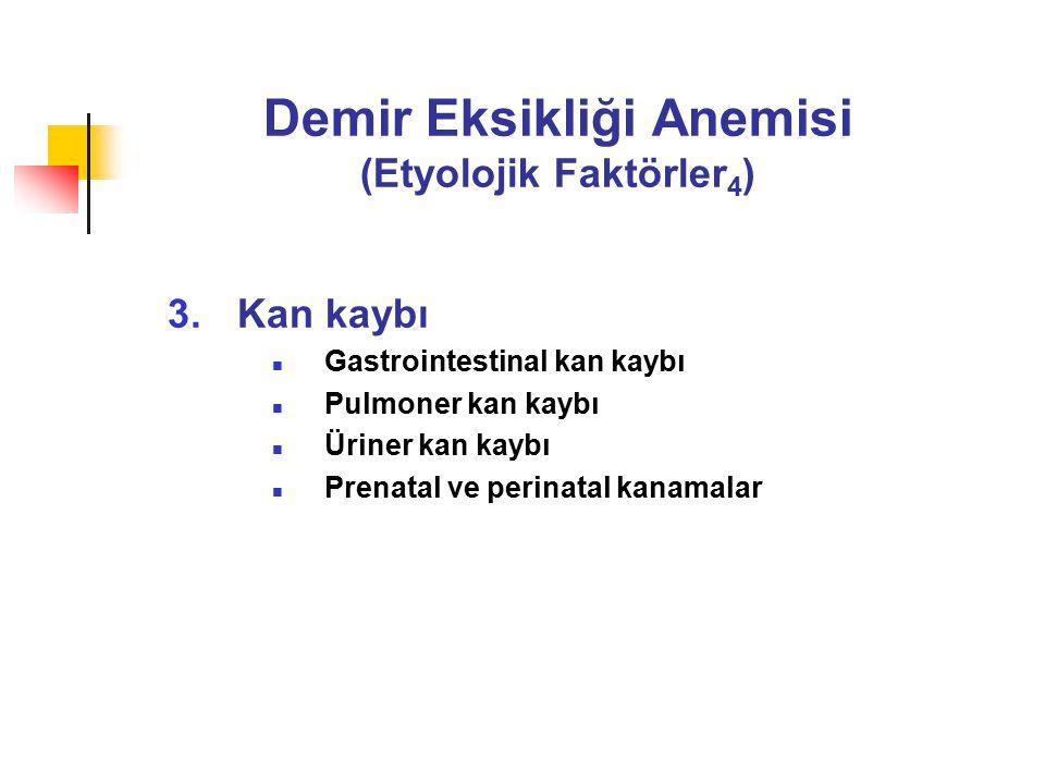 Demir Eksikliği Anemisi (Etyolojik Faktörler 4 ) 3.Kan kaybı Gastrointestinal kan kaybı Pulmoner kan kaybı Üriner kan kaybı Prenatal ve perinatal kanamalar