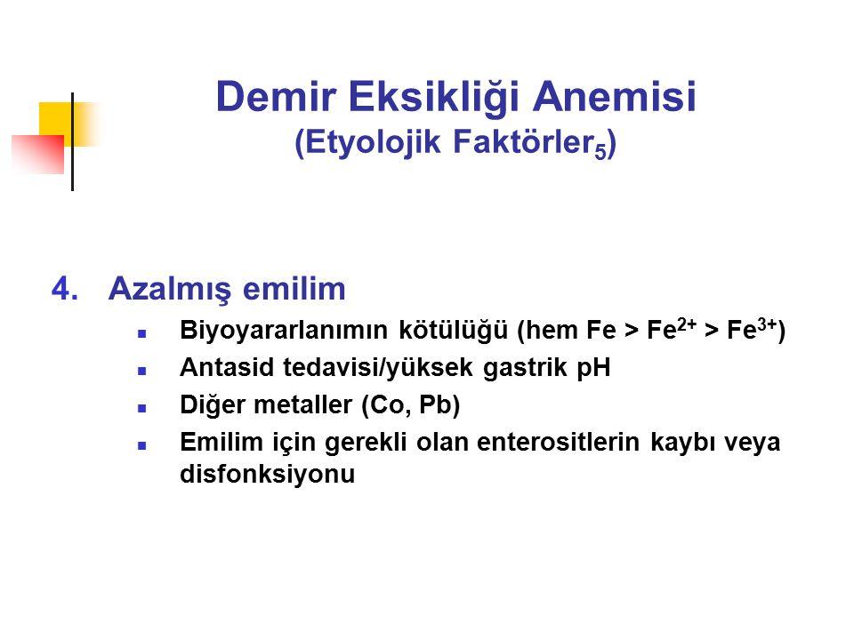 Demir Eksikliği Anemisi (Etyolojik Faktörler 5 ) 4.Azalmış emilim Biyoyararlanımın kötülüğü (hem Fe > Fe 2+ > Fe 3+ ) Antasid tedavisi/yüksek gastrik pH Diğer metaller (Co, Pb) Emilim için gerekli olan enterositlerin kaybı veya disfonksiyonu