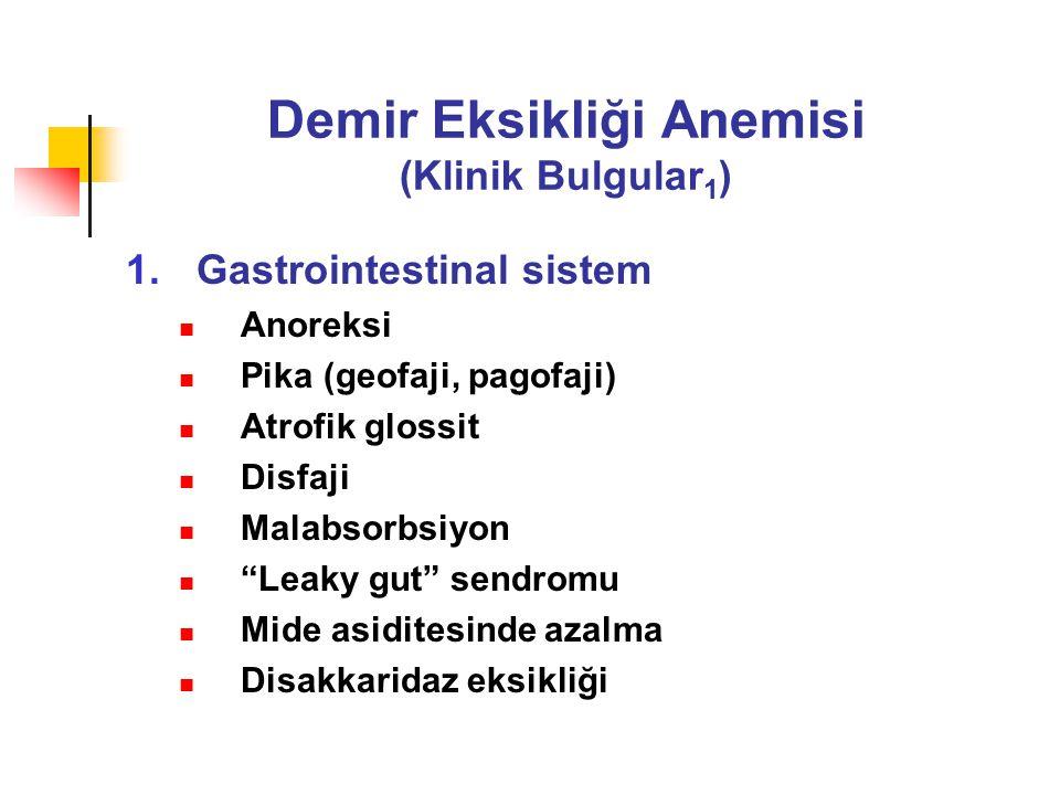 Demir Eksikliği Anemisi (Klinik Bulgular 1 ) 1.Gastrointestinal sistem Anoreksi Pika (geofaji, pagofaji) Atrofik glossit Disfaji Malabsorbsiyon Leaky gut sendromu Mide asiditesinde azalma Disakkaridaz eksikliği