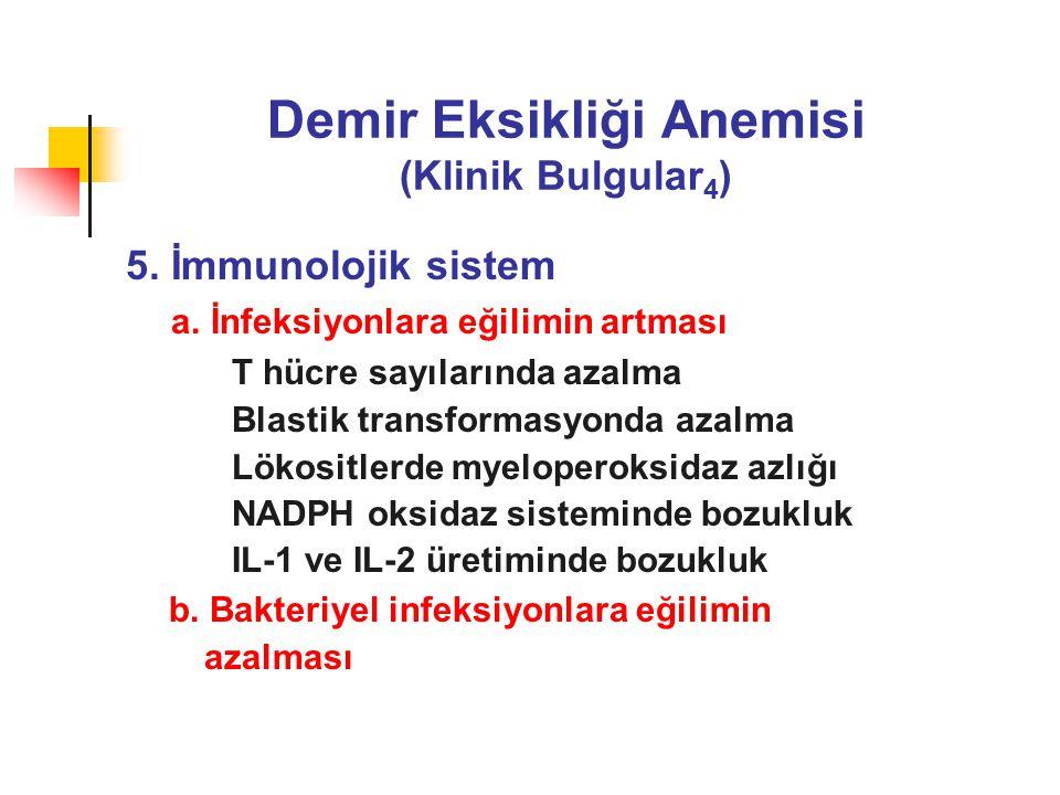 Demir Eksikliği Anemisi (Klinik Bulgular 4 ) 5.İmmunolojik sistem a.