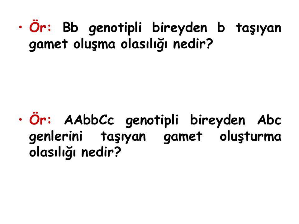 Ör: Bb genotipli bireyden b taşıyan gamet oluşma olasılığı nedir? Ör: AAbbCc genotipli bireyden Abc genlerini taşıyan gamet oluşturma olasılığı nedir?