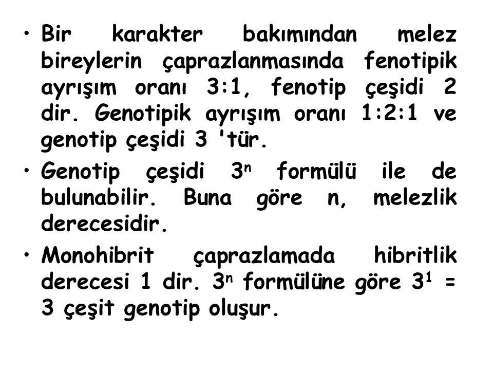 Bir karakter bakımından melez bireylerin çaprazlanmasında fenotipik ayrışım oranı 3:1, fenotip çeşidi 2 dir. Genotipik ayrışım oranı 1:2:1 ve genotip