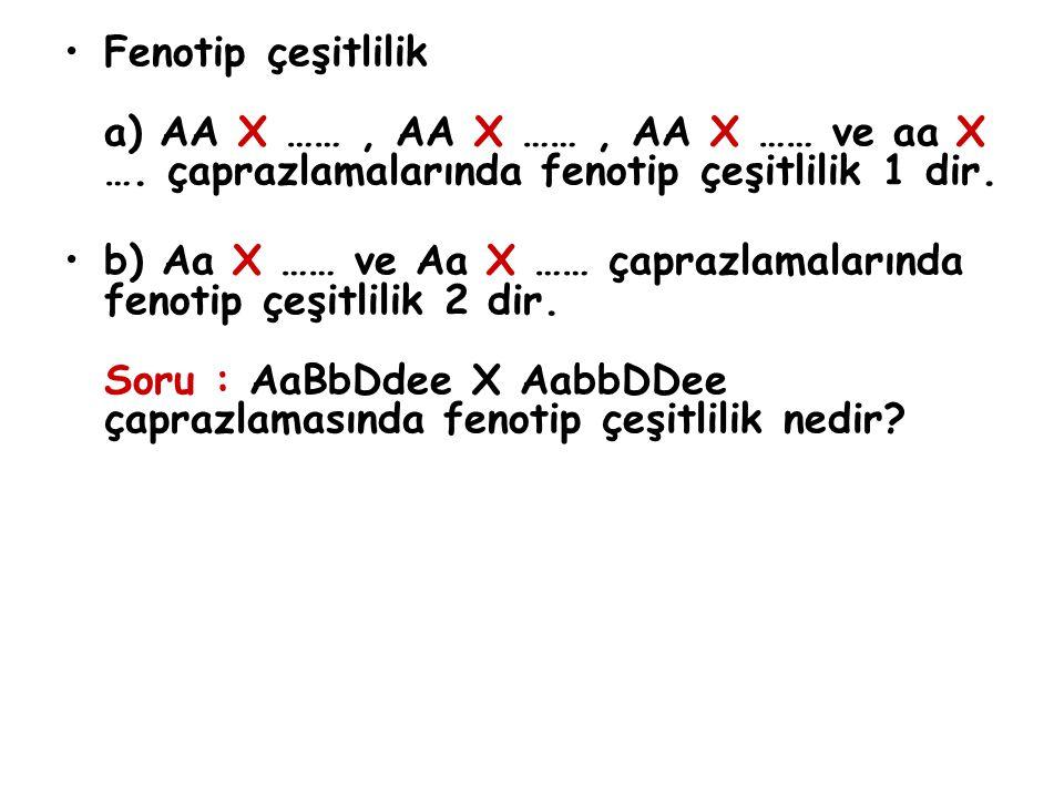 Fenotip çeşitlilik a) AA X ……, AA X ……, AA X …… ve aa X …. çaprazlamalarında fenotip çeşitlilik 1 dir. b) Aa X …… ve Aa X …… çaprazlamalarında fenotip