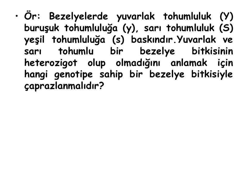 Ör: Bezelyelerde yuvarlak tohumluluk (Y) buruşuk tohumluluğa (y), sarı tohumluluk (S) yeşil tohumluluğa (s) baskındır.Yuvarlak ve sarı tohumlu bir bez