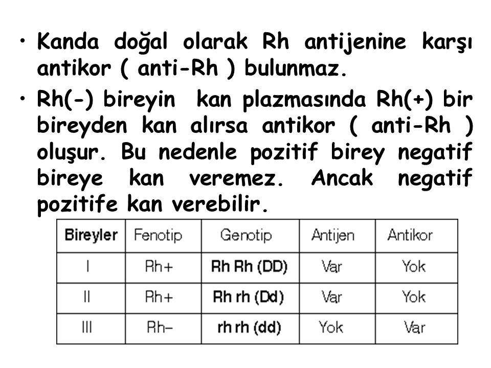 Kanda doğal olarak Rh antijenine karşı antikor ( anti-Rh ) bulunmaz. Rh(-) bireyin kan plazmasında Rh(+) bir bireyden kan alırsa antikor ( anti-Rh ) o
